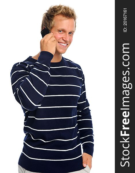 Smiling man on mobile phone
