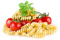 Free Fusilli  Pasta With Tomatoes And Basil Stock Photos - 20172753