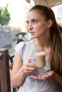 Free Woman Is Holding Cappuccino Royalty Free Stock Image - 20179546