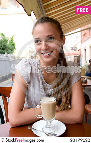 Free Woman With Coffee In Cafe Stock Photo - 20179520