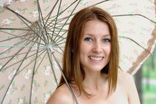 Portrait Of A Beautiful Girl With Umbrella Stock Image