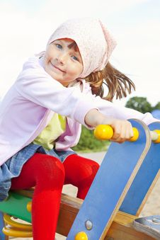 Free Girl Playing On Children S Playground Royalty Free Stock Photography - 20171087