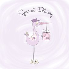 Welcome Baby Card With Stork Stock Photography