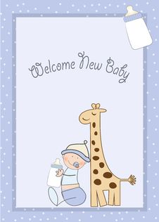 Free Baby Boy Shower Card With Giraffe Toy Stock Photo - 20171400