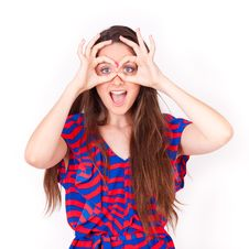 Free Young Beautiful Woman Making Glasse Gesture Stock Photography - 20171652