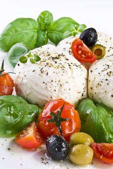 Mozzarella With Basil Cherry Tomatoes And Olives Royalty Free Stock Photo