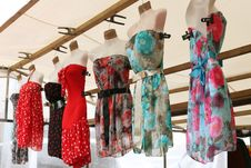 Row Of Clourfull Summerdresses Royalty Free Stock Photography