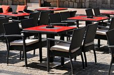 Free Empty Tables And Chairs In A Outdoor Cafe Stock Image - 20173291