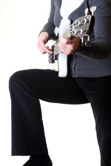 Playing Electrical Bass Guitar Isolated Stock Photos