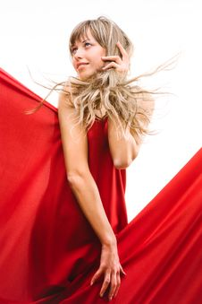 Free Young Girl In A Red Cloth Royalty Free Stock Image - 20174536