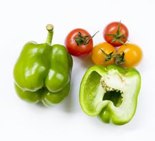 Bell Pepper And Mini Tomato Stock Photos