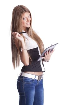 Free Beautiful Woman With Tablet Computer Royalty Free Stock Images - 20175289