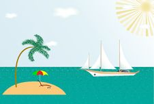 Illustration Of Summer Beach Stock Photography