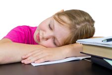 The Girl Fallen Asleep Over Textbooks Stock Photos