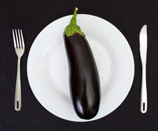 Free Eggplant On A White Plate Isolated Stock Photography - 20176842