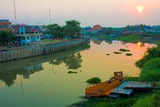 Houseboat In Thailand Royalty Free Stock Photos