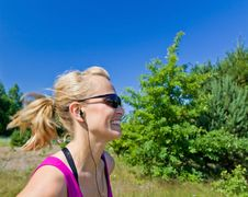 Happy Running Woman Royalty Free Stock Image