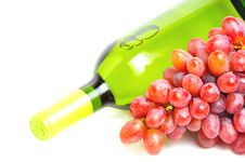 Free Bottle Of White Wine And Pink Grape Royalty Free Stock Photo - 20179075