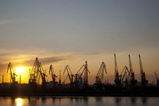 Free Industrial Seaport At Sunset Royalty Free Stock Image - 20179236