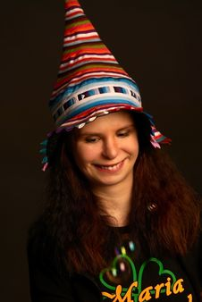 Free Young Smiling Girl In Fool S Cap. Stock Photography - 20179532