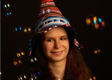 Free Young Happy Girl In Fool S Cap Royalty Free Stock Photos - 20179548