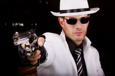 Free White Suit Gangster With A Gun Royalty Free Stock Photography - 20179587