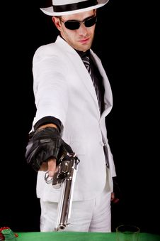 Free White Suit Gangster With A Gun Stock Image - 20179661