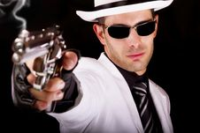 Free White Suit Gangster With A Gun Stock Images - 20179704