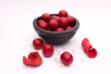 Wild Red Plum Still Life Stock Image