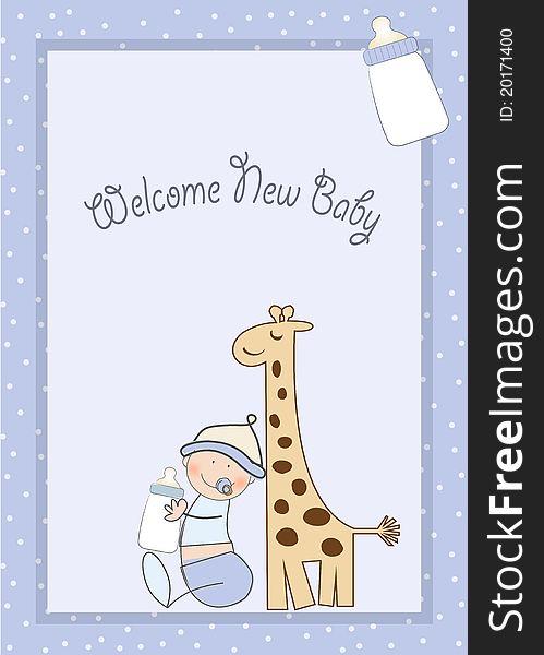 Baby boy shower card with giraffe toy