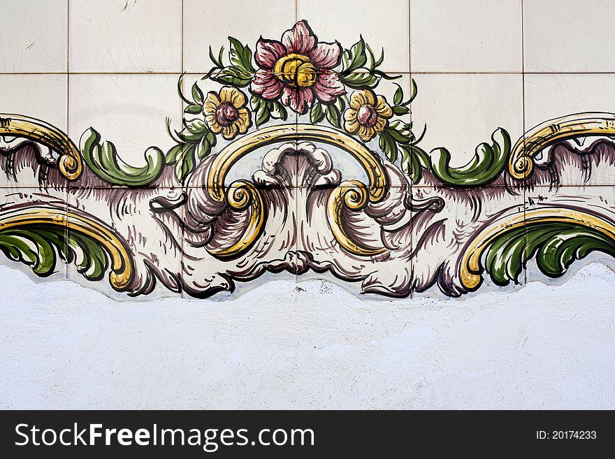 Tiled azulejo wall