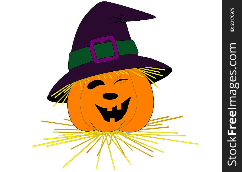 Smiling pumpkin face with a hat