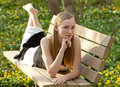 Free Pretty Teen On Park Bench Royalty Free Stock Image - 20181216