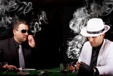 Two Gangsters Playing Some Cards Stock Photo