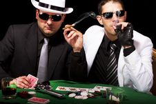 Two Gangsters Playing Some Cards Stock Images