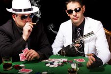 Two Gangsters Playing Some Cards Royalty Free Stock Photography