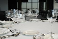 Free Wineglass And Plates On Table. Royalty Free Stock Photo - 20180485