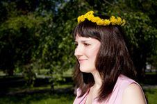 Portrait Of The Young Beautiful Girl In Park Stock Image