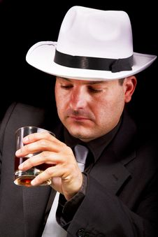 Free Black Suit Gangster Drinking Stock Photography - 20180662
