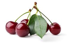 Free Fresh Cherries With Leaf Royalty Free Stock Photography - 20181927