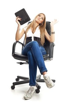 Free Beautiful Woman With Tablet Computer Stock Photo - 20182510