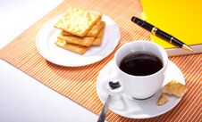 Free Hot Coffee Cup With Bread Stock Image - 20182641
