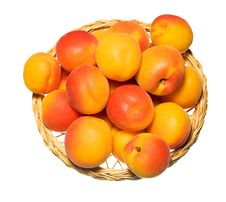 Free Basket Full Of Apricots Isolated On White Royalty Free Stock Photography - 20184567
