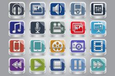 Silver Multimedia Buttons Royalty Free Stock Photography