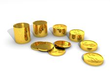 Free Set Of Gold Coins Royalty Free Stock Photography - 20186507