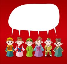 Cartoon Chinese People Speech ,card Royalty Free Stock Photography
