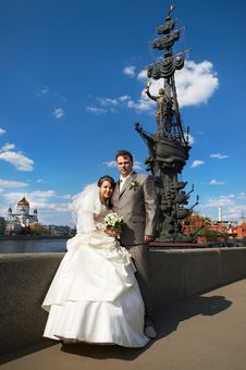 Free Bride And Groom About Monument To Peter The Great Stock Photography - 20188542
