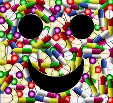 Free Smiley Face With Pills Royalty Free Stock Photography - 20188717