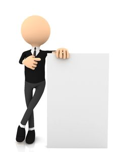 Free 3d Businessman Wiyh Poster Over White Royalty Free Stock Photo - 20188985