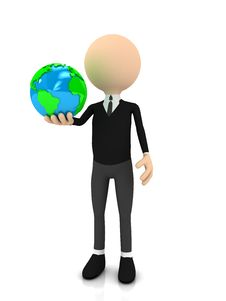 Free 3d Businessman With Globe Over White Stock Photos - 20188993